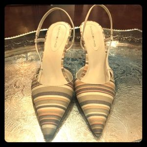 Bandolino stripped fabric sling back heels